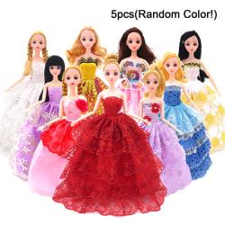 5Pcs Original Barbie Doll Dress Toy Wedding Princess Party Dress Multicolor 5Pcs