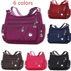 6 färger vattentät nylonväska mode kvinnor enkel axelväska