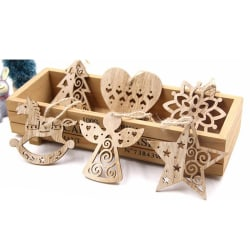 6PCS Hollow Christmas Snowflakes Wooden Pendant Ornament For Xma random color