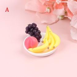 6Pcs/Set Dollhouse Doll House Fruit Grape Vegetable Fruit Tray  A