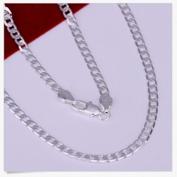 925 Sterling Silver Men Sideways Flat Chain Necklace 4MM