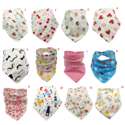 Baby bibs triangle double layers cotton cartoon animal print 12
