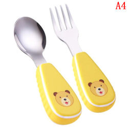 Baby fork and spoon toddler utensils feeding training child tabl A4