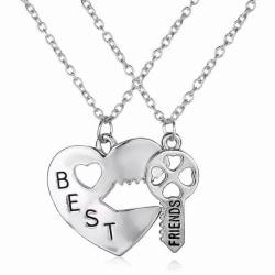 Best Friends Pendant Necklaces Fashion Heart Key Letters Friend Silver