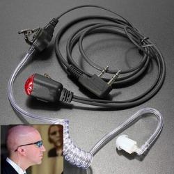 Black headset earpiece interphone security radio walkie talkie one size