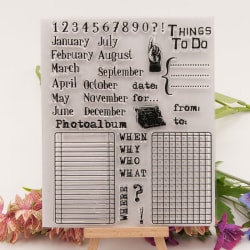 Kalender Gummi Clear Stamp Cling Seal Scrapbooking Diary Card