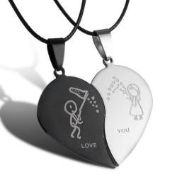 Couple Broken Heart Pendant Black Cord Necklace Engrave Love Yo Black+Silver