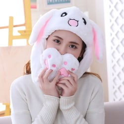 Cute Rabbit Moving Ears Hat Soft Funny Toy Cap Girls Plush Toy  White