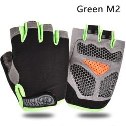 Cycling Anti-slip Anti-sweat Unisex Half Finger Gloves Breathabl Green M2