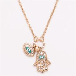 Fatima Hamsa Hand Turkey Blue Evil Eye Necklace Charm Pendant J Gold