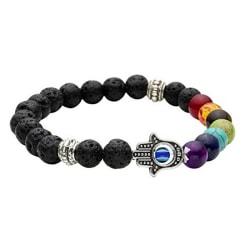 Hamsa Hand Chakra Gemstone Bracelet Lava Stone Crystal Reiki He Multi One Size
