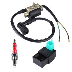 Ignition Coil CDI Spark Plug Kit Quad Dirt Bike ATV Buggy 50cc 7 Black