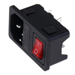 Inlet Male Power Socket With Fuse Switch 10A 250V 3 Pin IEC320 C One Size