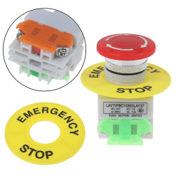 Mushroom Cap 1NO 1NC DPST Emergency Stop Push Button Switch AC 6 one size