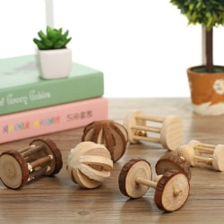 Natural Pine Dumbells Unicycle Bell Roller Chew Toys For Guinea Bark without watermelon