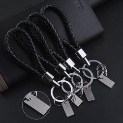 Nytt mode män läder nyckelring ring nyckelring nyckelring nyckelring Black one size