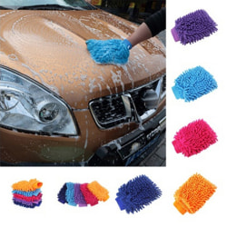 New Ultrafine Fiber Chenille Anthozoan Car Wash Gloves Car Washe Blue One Size