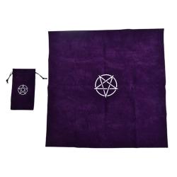 Pentagram Tarot Tablecloth with Bag Velvet Altar Tarot Cloth Pen Purple