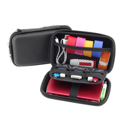 Portable Travel Storage Bag for Digital USB Data Cable Products  Black 15.5*9.2*4.2CM