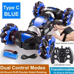 Fjärrkontroll Stunt Car Gesture Induction Twisting Off-Road Ca Blue Dual mode