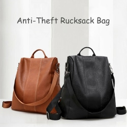 Rucksack Women Leather Pompom Backpack Handbag Anti-theft Ladie Brown one size