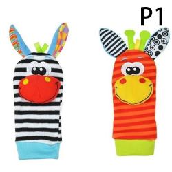 Sozzy's Cute Baby Rattle Animal Socks Baby Plush Socks Bell Toys Zebra + Deer