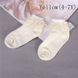 Summer Baby Girls Kids Toddler Socks Cotton Lace Princess Ankle  Yellow 4-7Y
