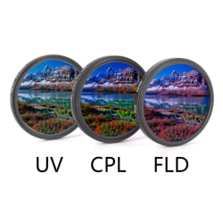 UV+CPL+FLD Lens Filter Set with Bag for Cannon Nikon Sony Penta 58MM
