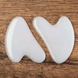 vit jade ansikts skönhet skrapa massage verktyg hjärtformad gua one size