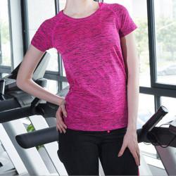 women lady gym sports shirt yoga top fitness fashion running t-s Blue M