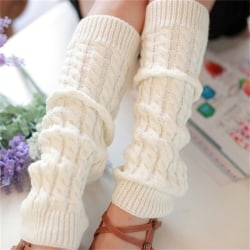 Womens Winter Knit Crochet Knitted Leg Warmers Legging Boot Cov White