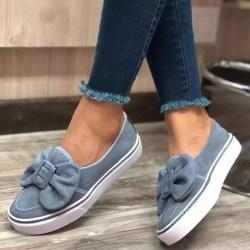 Damblommiga mocka loafers en fot tjocka sulor casual skor Blå 38