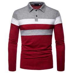 Långärmad Polotröja För Män Casual Tops Blus Pullover T-Shirt Röd L