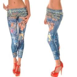 Coola Blå Jeans Leggings med tryck Blue one size