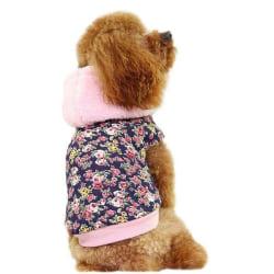 Hundjacka blommig med luva Pink L