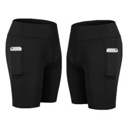 Svarta elastiska Träningstights fickor på båda sidorna Black S