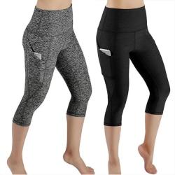 Yoga Fitness Capri Tights Leggings Grey M