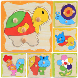 1 Pcs Wooden Puzzle Jigsaw Cartoon Kids Baby Educational Learni