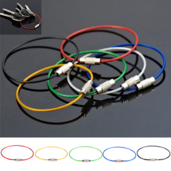 10Pcs Stainless Steel Keychain Rope Wire Cable Loop Screw Lock G One Size