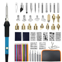110V 220V 60W Wood Burning Pen Set Stencil Soldering Tips Tools EU-Solder