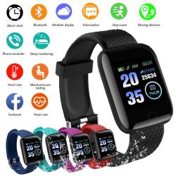 116plus Smart Watch Bluetooth Heart Rate Oxygen Blood Pressure S Black