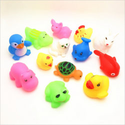 13Pcs Cute Mixed Animals Colorful Soft Rubber Float Squeeze Sou