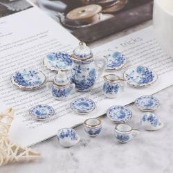 15Pcs 1:12 Dollhouse Miniature Tableware Porcelain Ceramic Tea C One Size