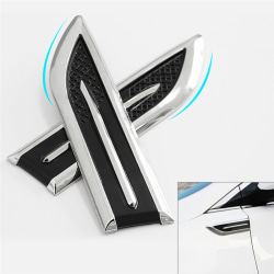 1Pair Car Decorated 3D Vent Air Flow Fender Sticker Decal  Engin White