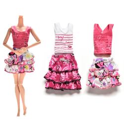2 Pcs/set Skirt short-sleeved T-shirt for Barbies Kids Doll Clot
