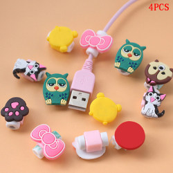 4xCartoon charging cable protector cute cord protection cover o one size