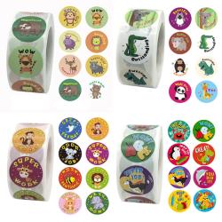 500Pcs/roll Cute Animals Reward Stickers Kids Motivational Stud One Size