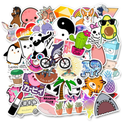 50Pcs Cute Cartoon Stickers DIY Laptop Luggage Guitar Bicycle S One Size