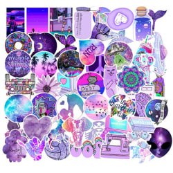 50Pcs Purple Style Graffiti Stickers Waterproof Laptop Luggage  One Size