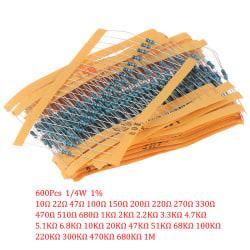 600Pcs 30 Kinds Value Metal Film Resistor pack 1/4W 1% Resistor one size